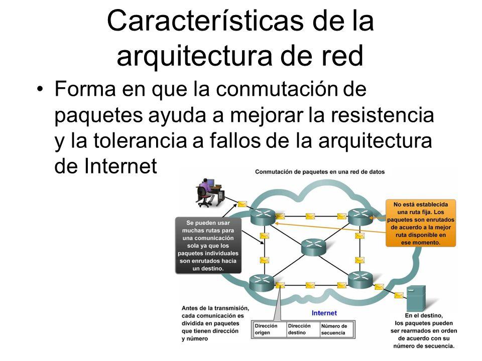 Forma en que la conmutación de paquetes ayuda a mejorar la resistencia y la tolerancia a fallos de la arquitectura de Internet Características de la a