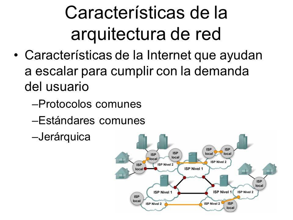 Características de la Internet que ayudan a escalar para cumplir con la demanda del usuario –Protocolos comunes –Estándares comunes –Jerárquica Características de la arquitectura de red