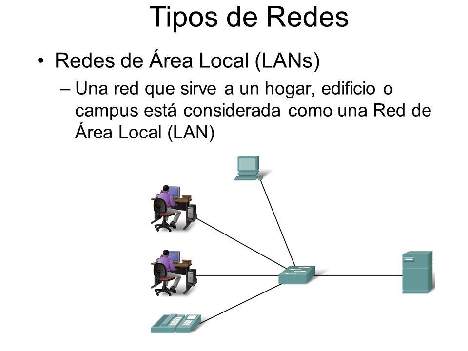 Tipos de Redes Redes de Área Local (LANs) –Una red que sirve a un hogar, edificio o campus está considerada como una Red de Área Local (LAN)