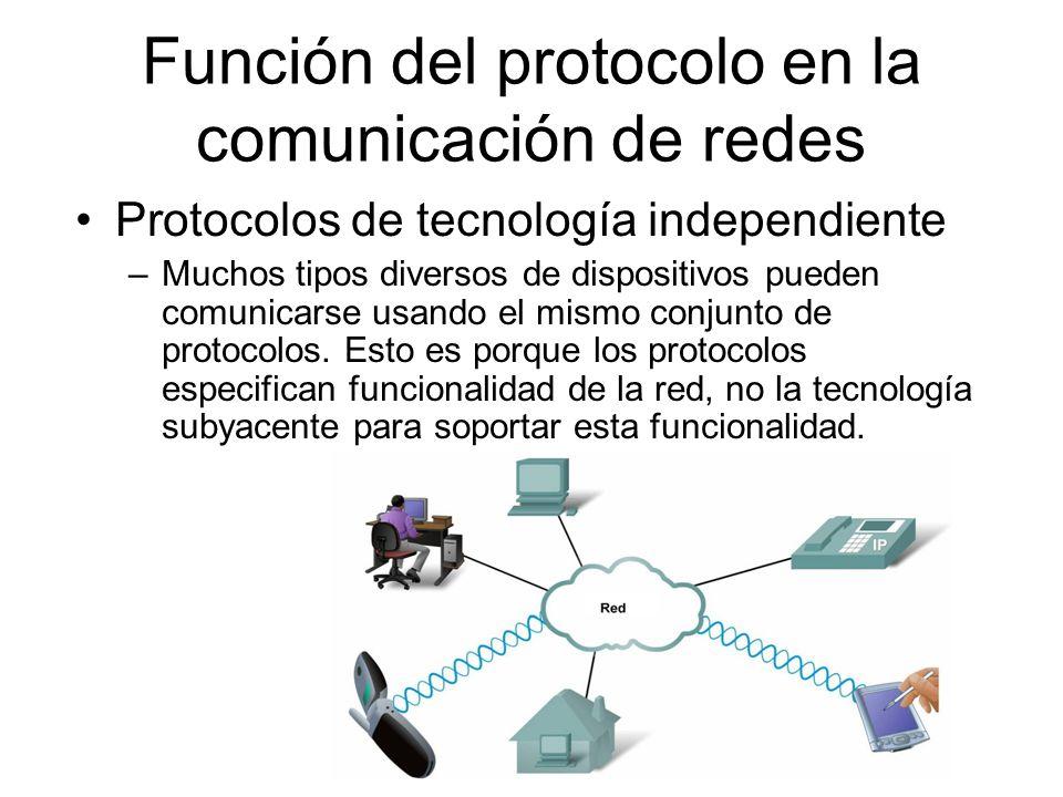 Protocolos de tecnología independiente –Muchos tipos diversos de dispositivos pueden comunicarse usando el mismo conjunto de protocolos. Esto es porqu