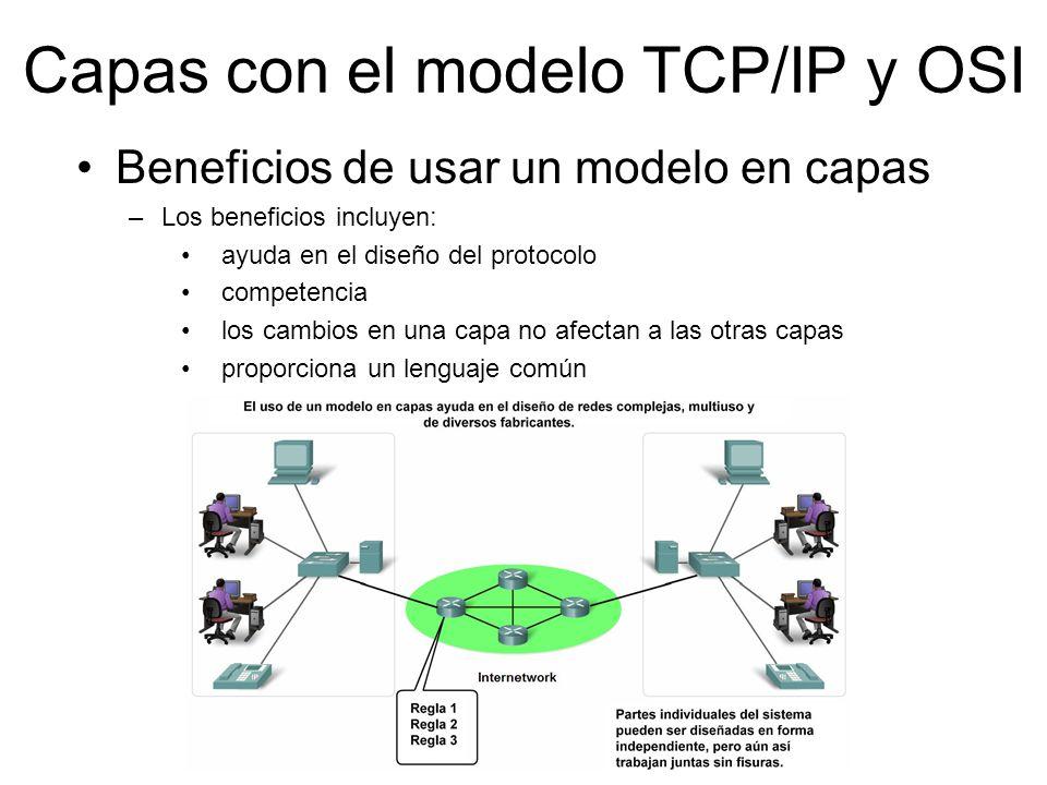 Capas con el modelo TCP/IP y OSI Beneficios de usar un modelo en capas –Los beneficios incluyen: ayuda en el diseño del protocolo competencia los camb