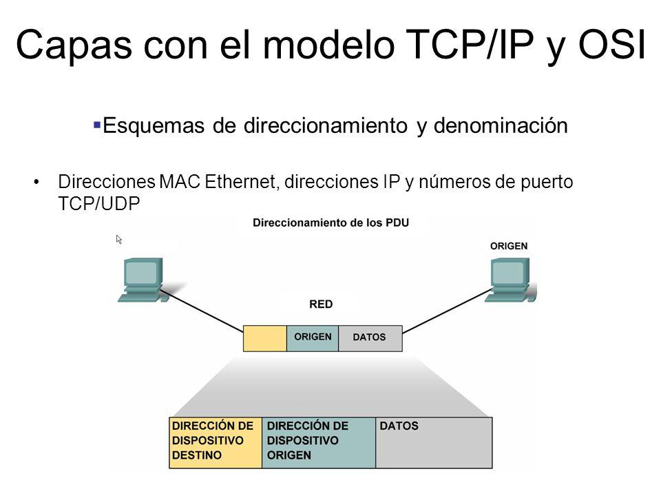 Esquemas de direccionamiento y denominación Direcciones MAC Ethernet, direcciones IP y números de puerto TCP/UDP Capas con el modelo TCP/IP y OSI