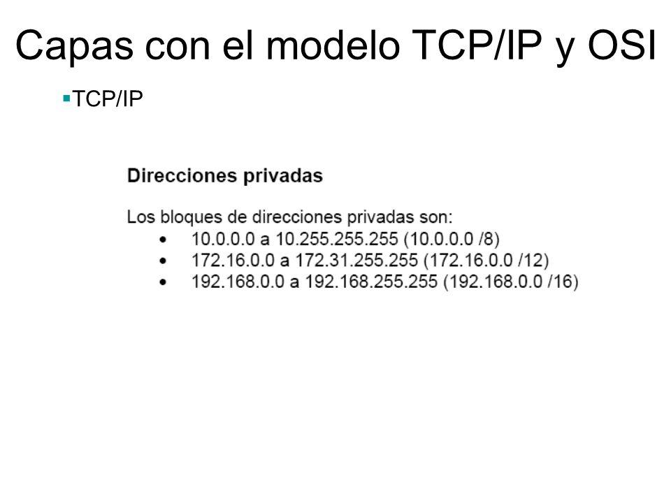 Capas con el modelo TCP/IP y OSI TCP/IP