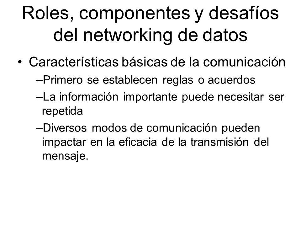 Roles, componentes y desafíos del networking de datos Características básicas de la comunicación –Primero se establecen reglas o acuerdos –La información importante puede necesitar ser repetida –Diversos modos de comunicación pueden impactar en la eficacia de la transmisión del mensaje.
