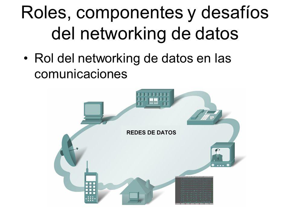 Elementos que forman una red –Dispositivos Son usados para comunicarse entre sí –Medio La forma en que los dispositivos están conectados los unos a los otros –Mensajes Información que viaja a través del medio –Reglas Gobiernan la forma en que los mensajes fluyen a través de la red Roles, componentes y desafíos del networking de datos