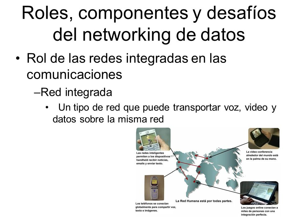 Rol de las redes integradas en las comunicaciones –Red integrada Un tipo de red que puede transportar voz, video y datos sobre la misma red Roles, componentes y desafíos del networking de datos