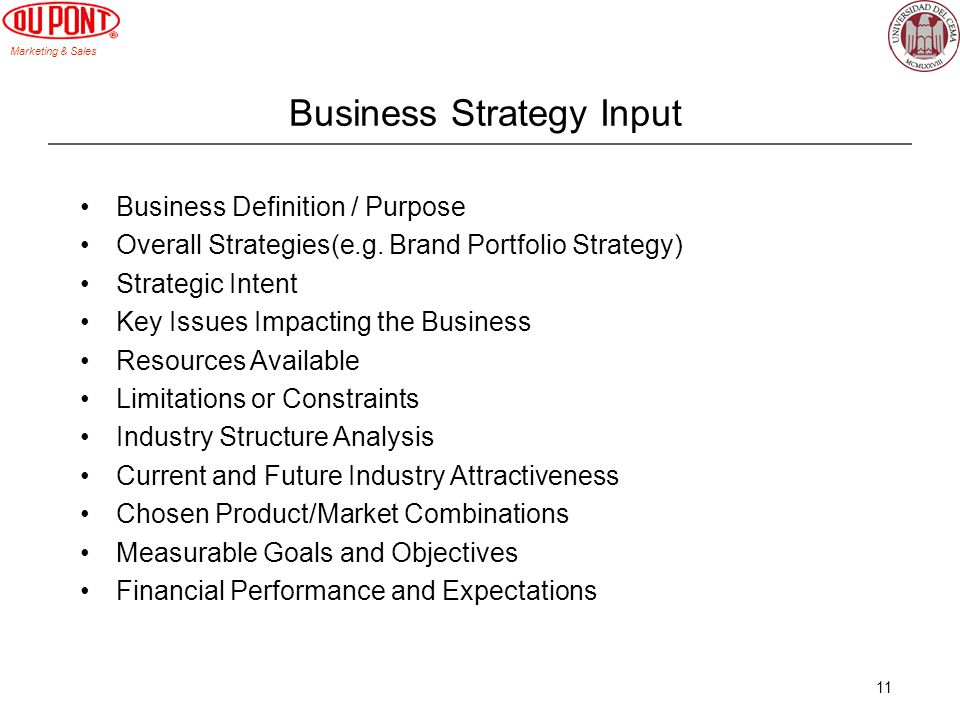 Marketing & Sales 11 Business Strategy Input Business Definition / Purpose Overall Strategies(e.g. Brand Portfolio Strategy) Strategic Intent Key Issu