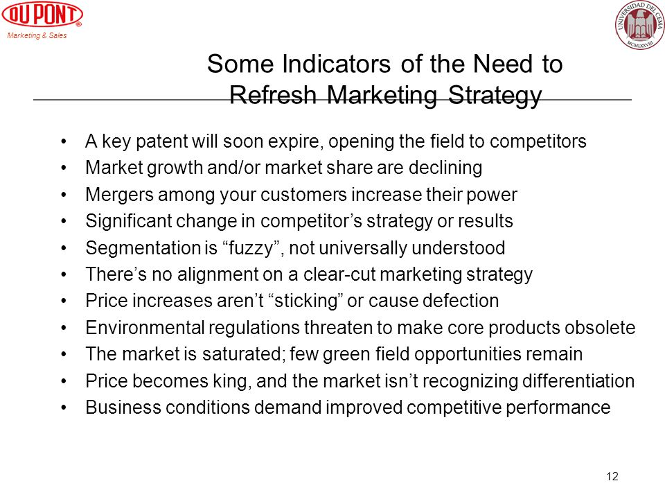 Marketing & Sales 12 Some Indicators of the Need to Refresh Marketing Strategy A key patent will soon expire, opening the field to competitors Market