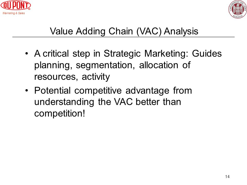 Marketing & Sales 14 Value Adding Chain (VAC) Analysis A critical step in Strategic Marketing: Guides planning, segmentation, allocation of resources,