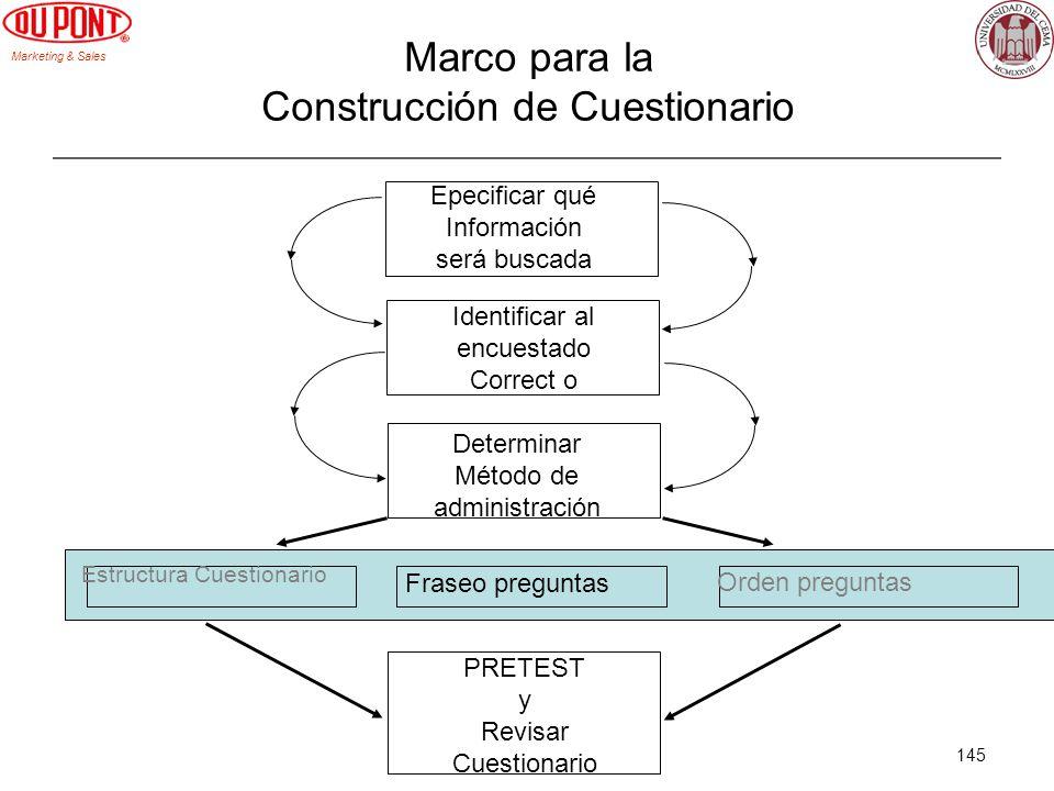 Marketing & Sales 145 Marco para la Construcción de Cuestionario Epecificar qué Información será buscada Identificar al encuestado Correct o Determina