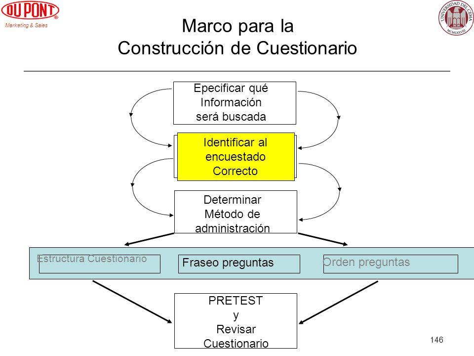 Marketing & Sales 146 Marco para la Construcción de Cuestionario Epecificar qué Información será buscada Identificar al encuestado Correcto Determinar