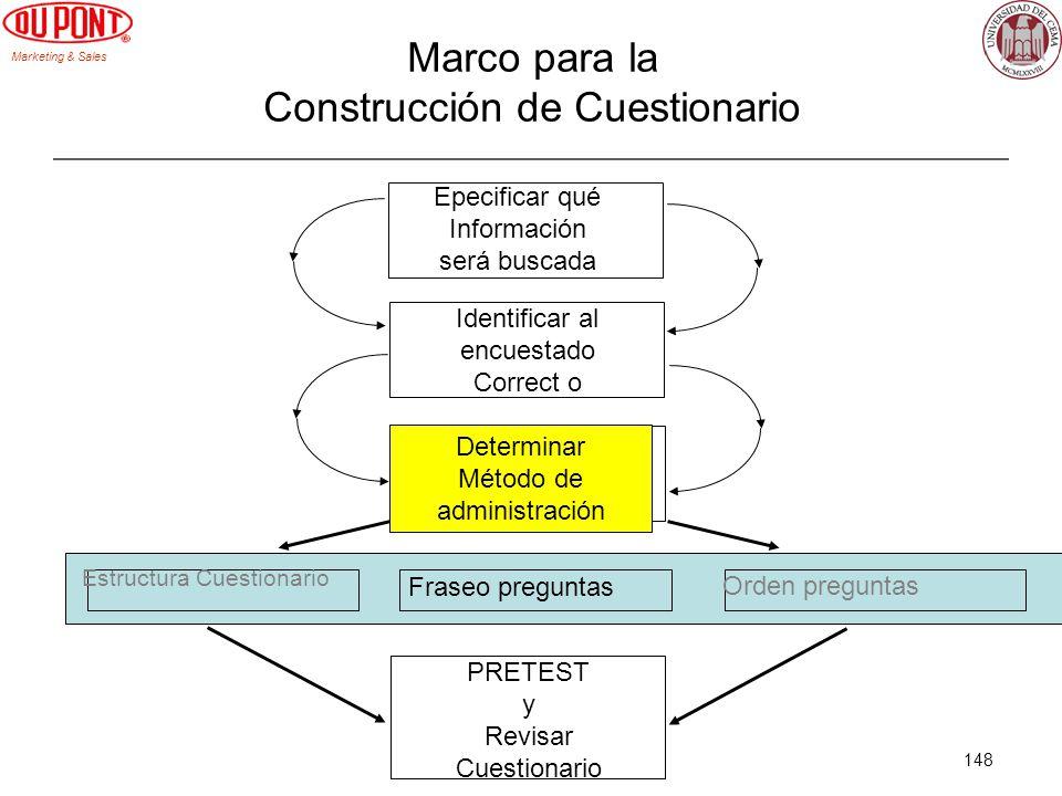 Marketing & Sales 148 Marco para la Construcción de Cuestionario Epecificar qué Información será buscada Identificar al encuestado Correct o Determina
