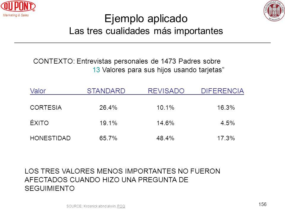 Marketing & Sales 156 Ejemplo aplicado Las tres cualidades más importantes Valor STANDARD REVISADODIFERENCIA CORTESIA 26.4% 10.1% 16.3% ÉXITO 19.1% 14