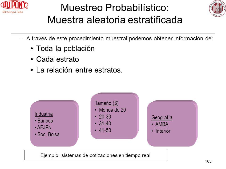 Marketing & Sales 165 Geografía AMBA Interior Tamaño ($) Menos de 20 20-30 31-40 41-50 Industria Bancos AFJPs Soc. Bolsa Muestreo Probabilístico: Mues