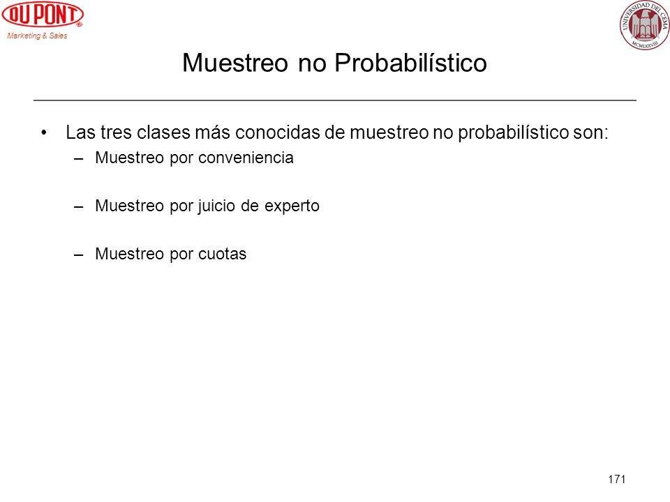 Marketing & Sales 171 Muestreo no Probabilístico Las tres clases más conocidas de muestreo no probabilístico son: –Muestreo por conveniencia –Muestreo