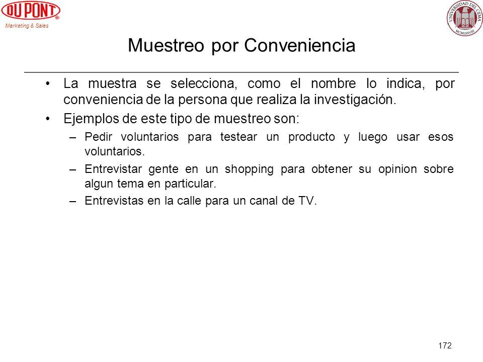 Marketing & Sales 172 Muestreo por Conveniencia La muestra se selecciona, como el nombre lo indica, por conveniencia de la persona que realiza la inve