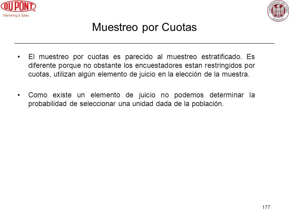 Marketing & Sales 177 Muestreo por Cuotas El muestreo por cuotas es parecido al muestreo estratificado. Es diferente porque no obstante los encuestado