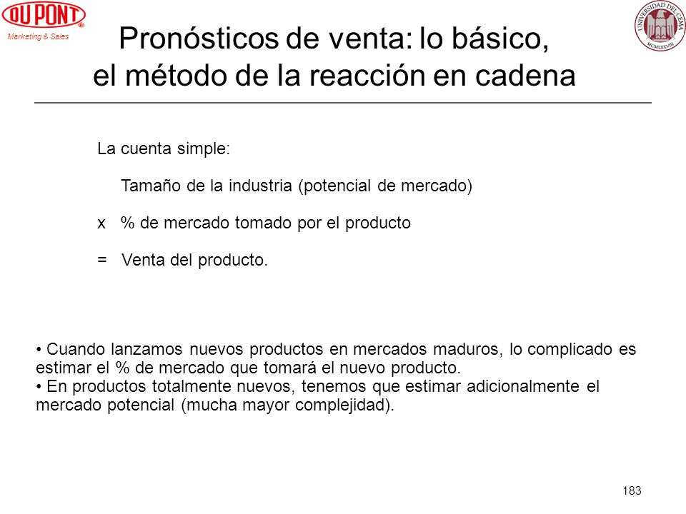Marketing & Sales 183 Pronósticos de venta: lo básico, el método de la reacción en cadena La cuenta simple: Tamaño de la industria (potencial de merca