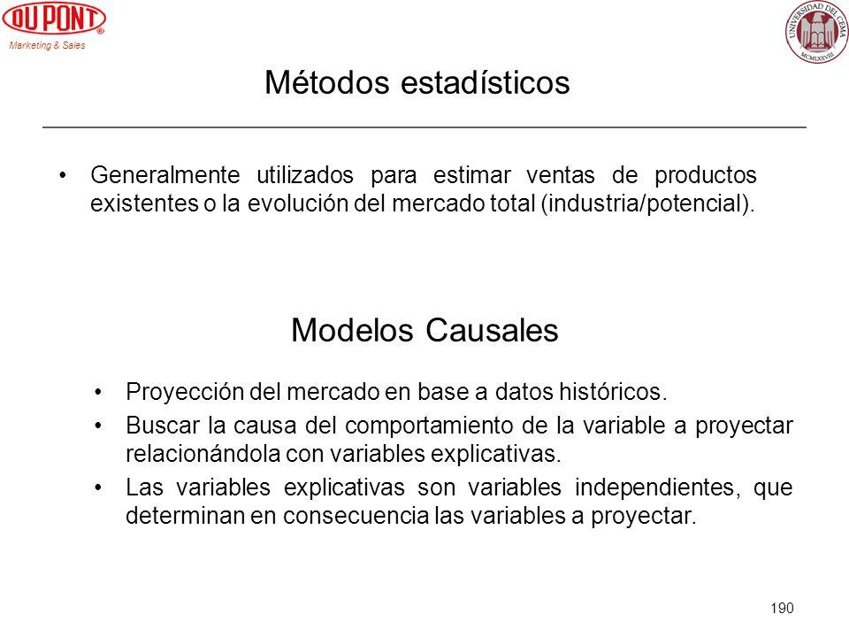 Marketing & Sales 190 Métodos estadísticos Generalmente utilizados para estimar ventas de productos existentes o la evolución del mercado total (indus