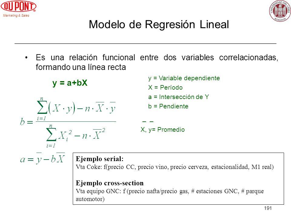 Marketing & Sales 191 Modelo de Regresión Lineal Es una relación funcional entre dos variables correlacionadas, formando una línea recta y = a+bX y =