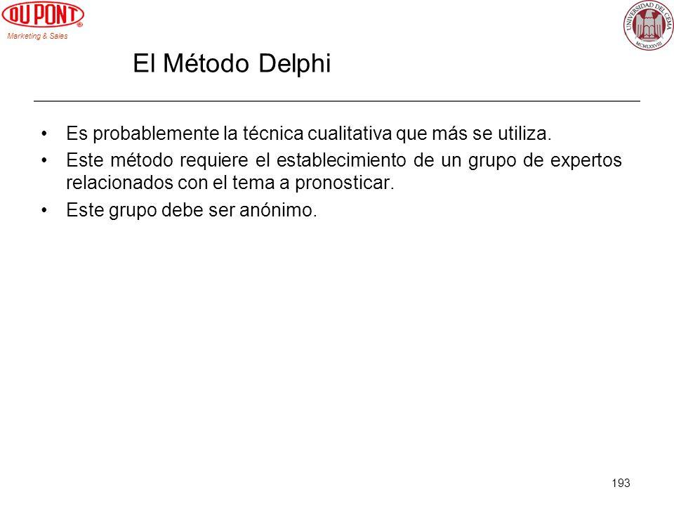 Marketing & Sales 193 El Método Delphi Es probablemente la técnica cualitativa que más se utiliza. Este método requiere el establecimiento de un grupo