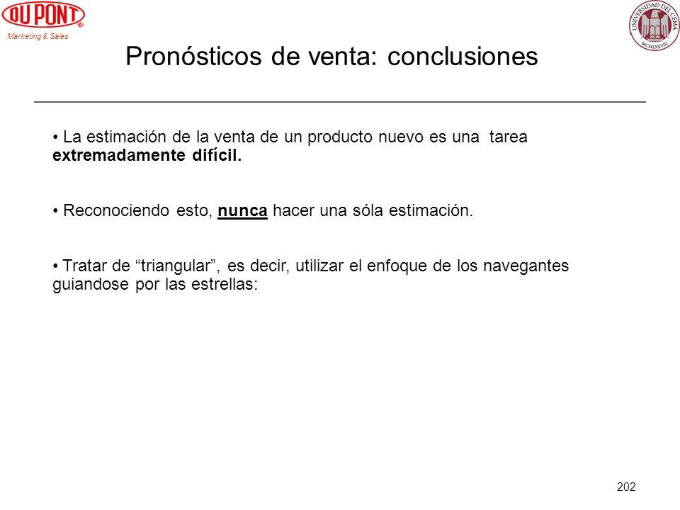 Marketing & Sales 202 Pronósticos de venta: conclusiones La estimación de la venta de un producto nuevo es una tarea extremadamente difícil. Reconocie