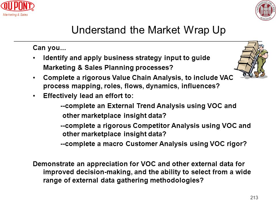 Marketing & Sales 213 Understand the Market Wrap Up Can you... Identify and apply business strategy input to guide Marketing & Sales Planning processe