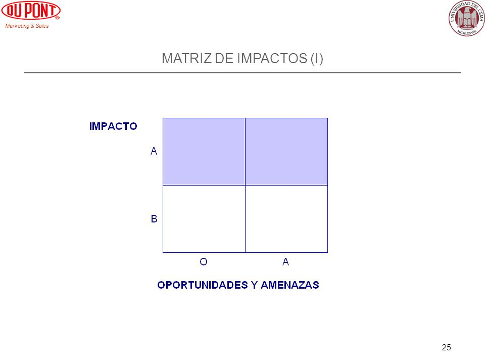 Marketing & Sales 25 MATRIZ DE IMPACTOS (I)