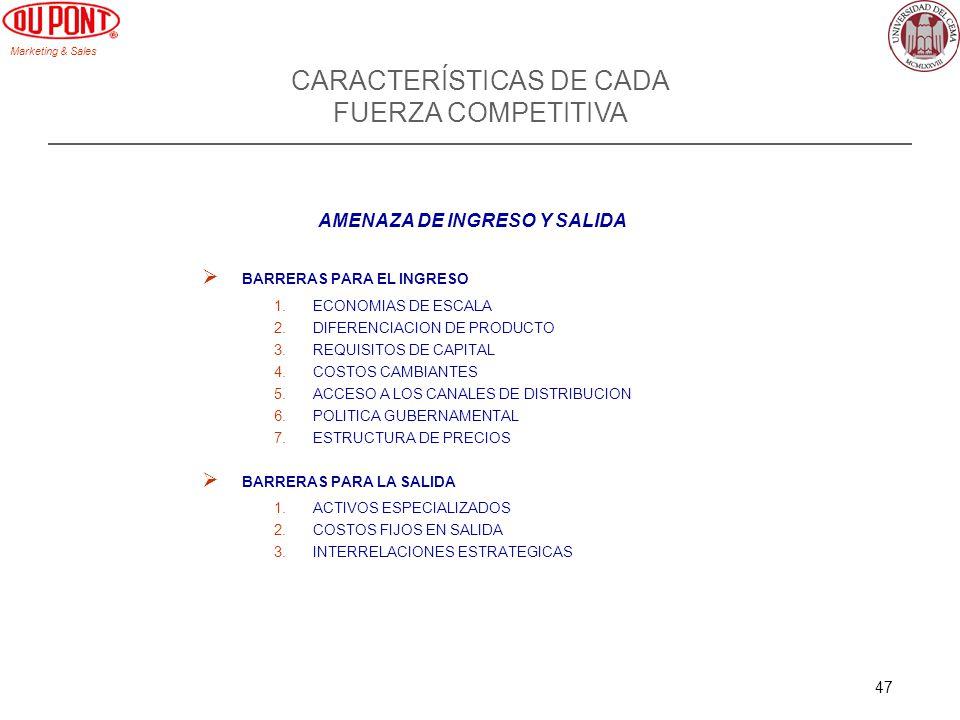 Marketing & Sales 47 CARACTERÍSTICAS DE CADA FUERZA COMPETITIVA AMENAZA DE INGRESO Y SALIDA BARRERAS PARA EL INGRESO 1.ECONOMIAS DE ESCALA 2.DIFERENCI