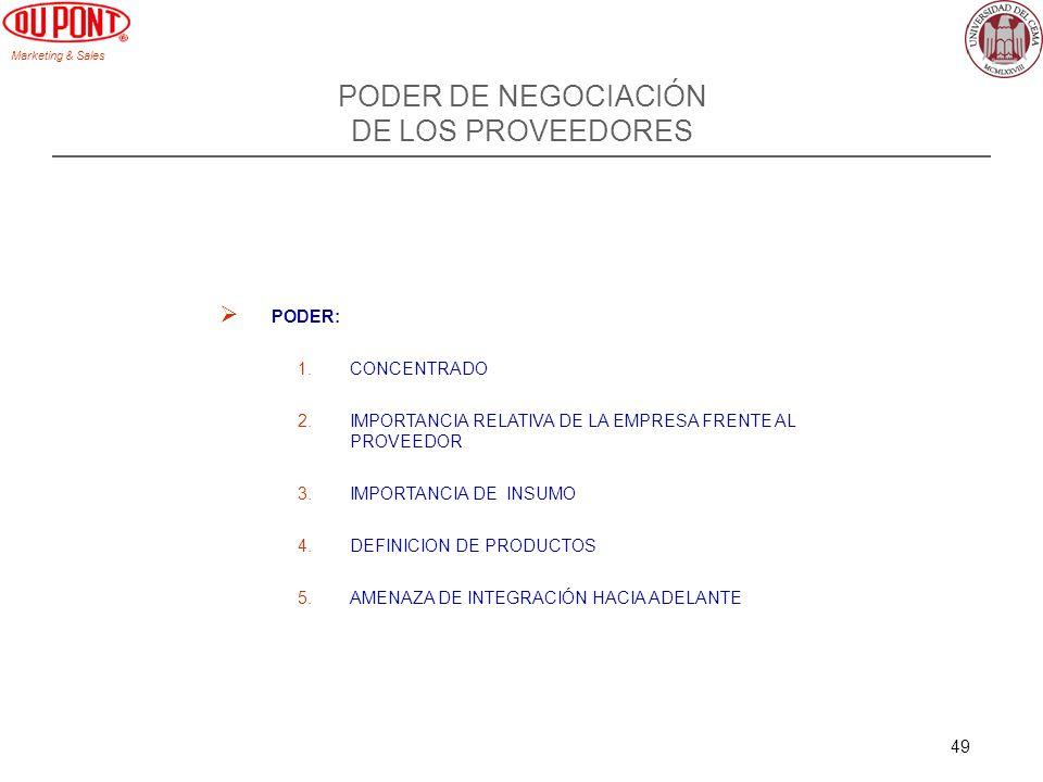 Marketing & Sales 49 PODER DE NEGOCIACIÓN DE LOS PROVEEDORES PODER: 1.CONCENTRADO 2.IMPORTANCIA RELATIVA DE LA EMPRESA FRENTE AL PROVEEDOR 3.IMPORTANC