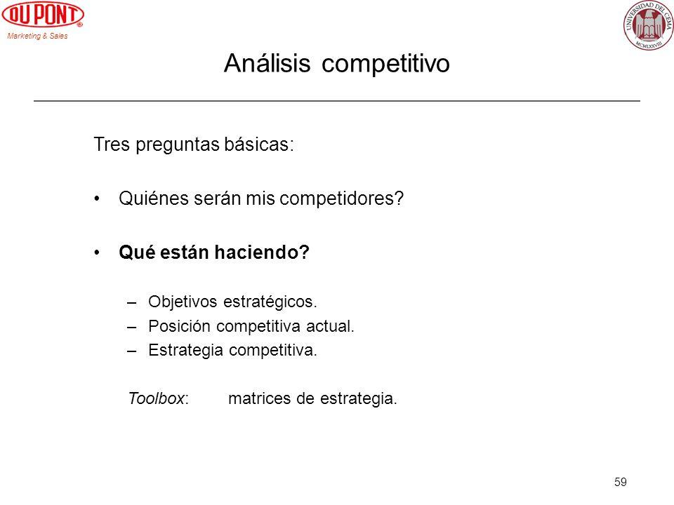 Marketing & Sales 59 Tres preguntas básicas: Quiénes serán mis competidores? Qué están haciendo? –Objetivos estratégicos. –Posición competitiva actual