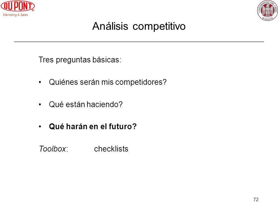 Marketing & Sales 72 Tres preguntas básicas: Quiénes serán mis competidores? Qué están haciendo? Qué harán en el futuro? Toolbox:checklists Análisis c