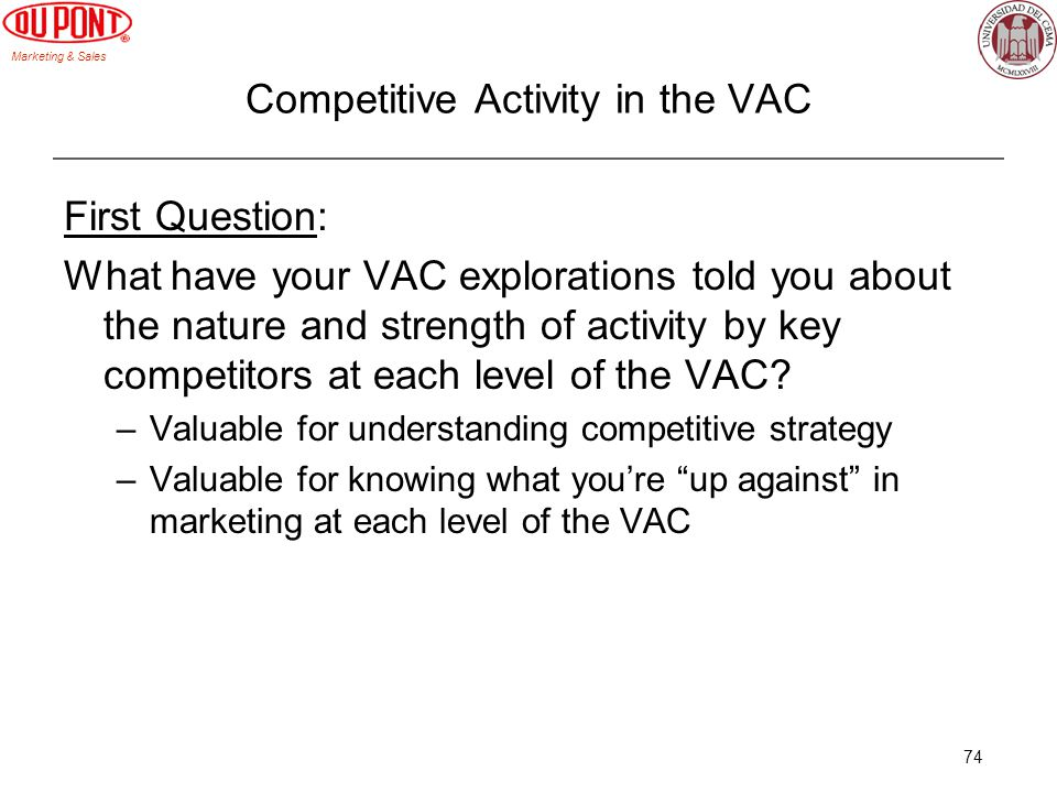 Marketing & Sales 74 Competitive Activity in the VAC First Question: What have your VAC explorations told you about the nature and strength of activit