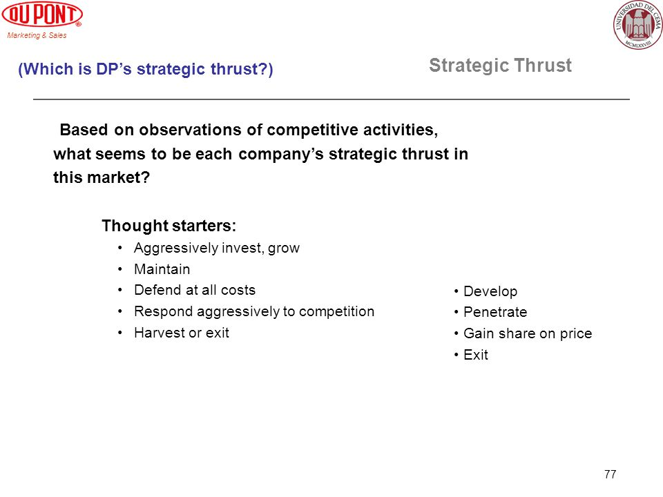 Marketing & Sales 77 Strategic Thrust Based on observations of competitive activities, what seems to be each companys strategic thrust in this market?