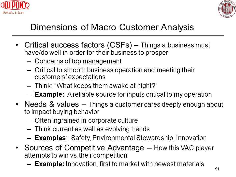Marketing & Sales 91 Dimensions of Macro Customer Analysis Critical success factors (CSFs) – Things a business must have/do well in order for their bu