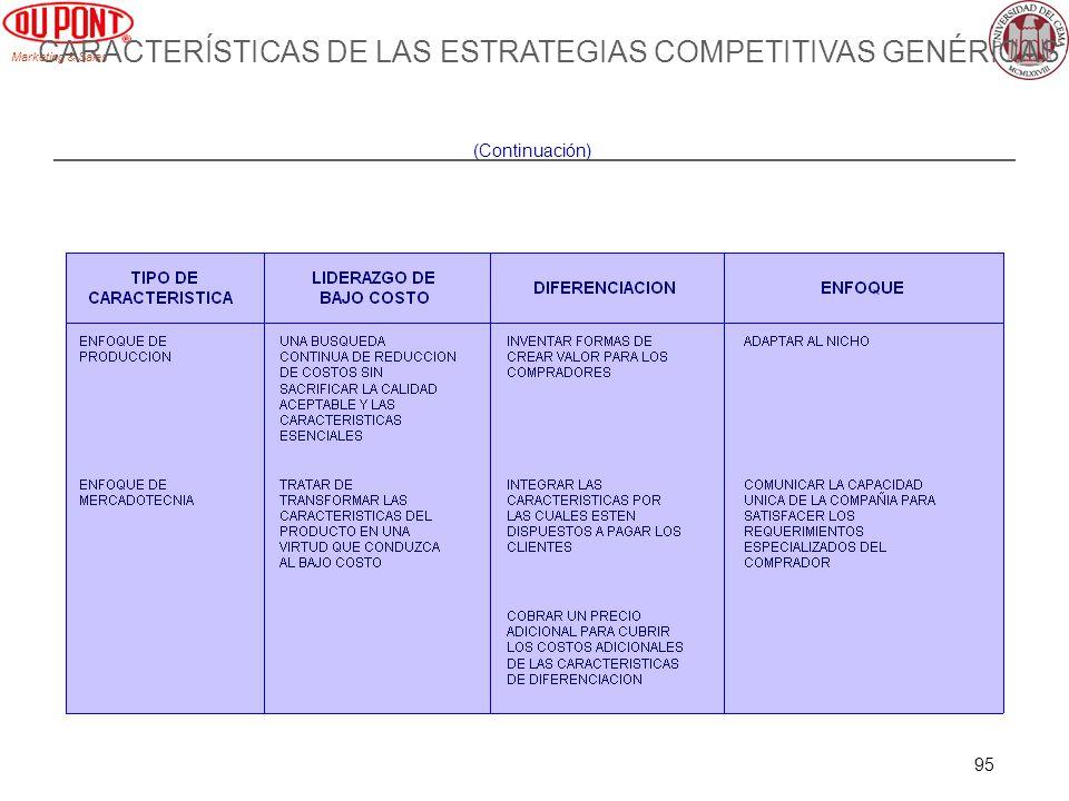 Marketing & Sales 95 CARACTERÍSTICAS DE LAS ESTRATEGIAS COMPETITIVAS GENÉRICAS (Continuación)