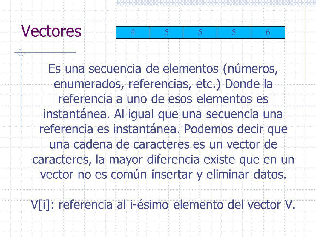 Vectores Es una secuencia de elementos (números, enumerados, referencias, etc.) Donde la referencia a uno de esos elementos es instantánea.
