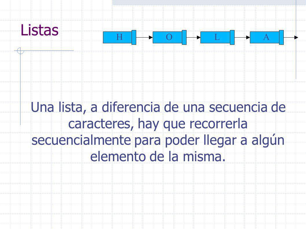 Listas Una lista, a diferencia de una secuencia de caracteres, hay que recorrerla secuencialmente para poder llegar a algún elemento de la misma.