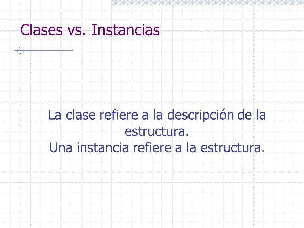 Clases vs. Instancias La clase refiere a la descripción de la estructura.