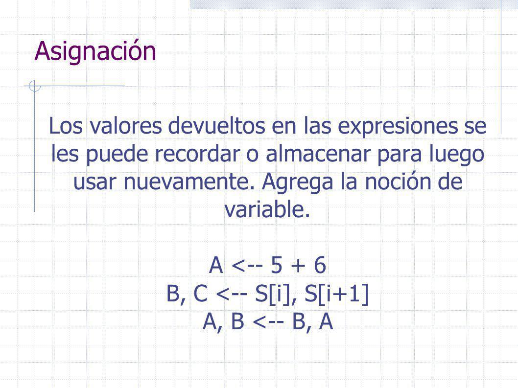 Asignación Los valores devueltos en las expresiones se les puede recordar o almacenar para luego usar nuevamente.