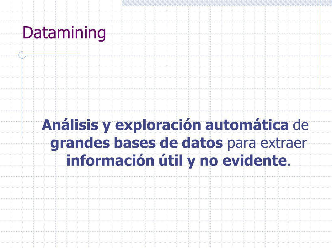 Datamining Análisis y exploración automática de grandes bases de datos para extraer información útil y no evidente.