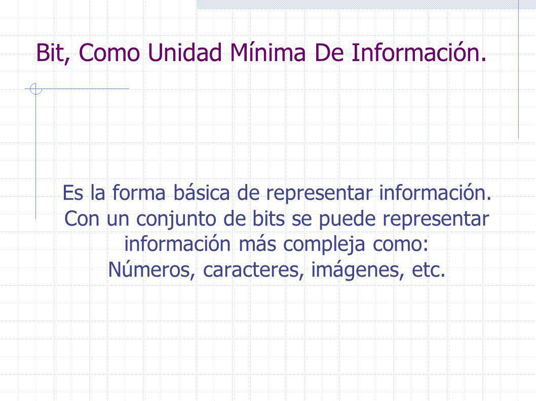Bit, Como Unidad Mínima De Información. Es la forma básica de representar información.