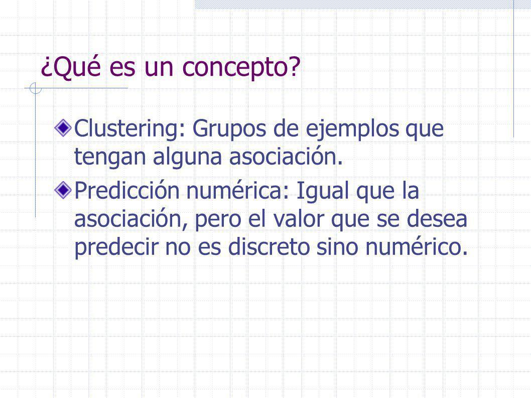 ¿Qué es un concepto. Clustering: Grupos de ejemplos que tengan alguna asociación.