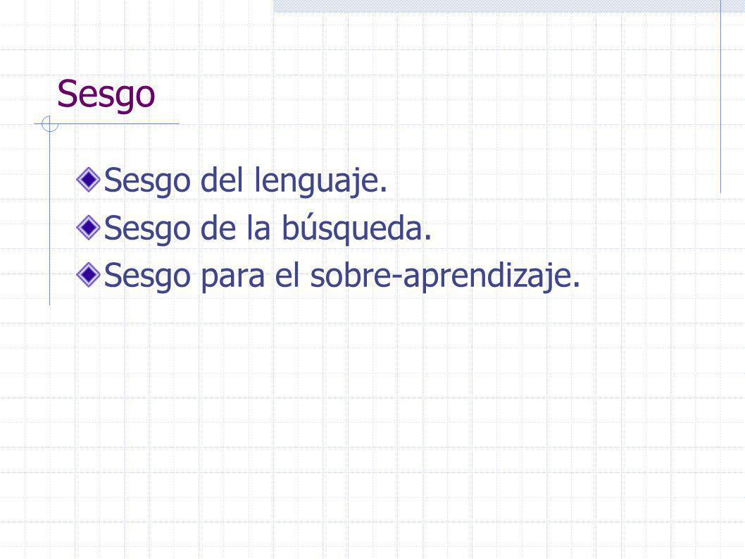 Sesgo Sesgo del lenguaje. Sesgo de la búsqueda. Sesgo para el sobre-aprendizaje.
