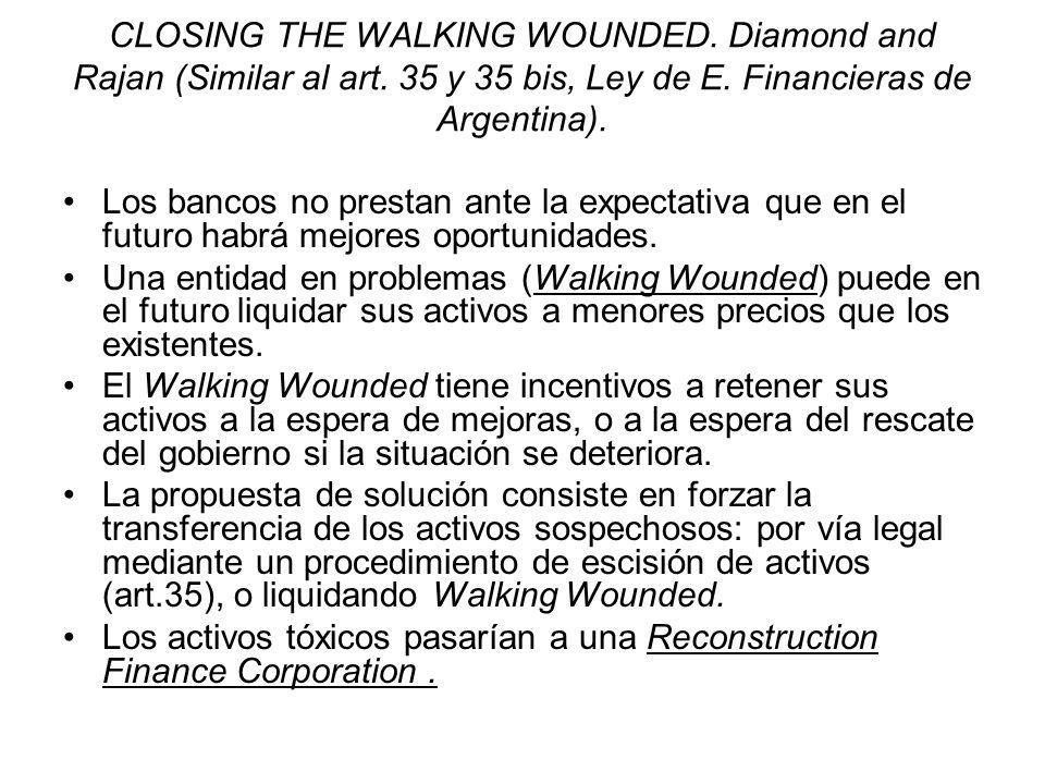 CLOSING THE WALKING WOUNDED. Diamond and Rajan (Similar al art. 35 y 35 bis, Ley de E. Financieras de Argentina). Los bancos no prestan ante la expect