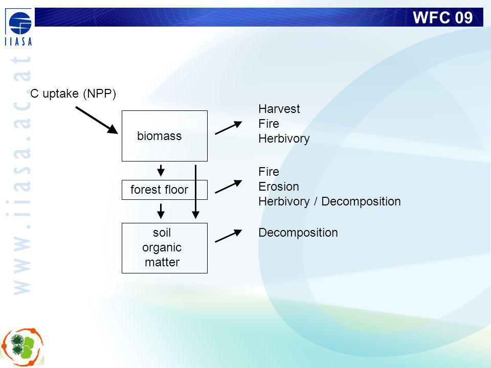WFC 09 Harvest Fire Herbivory Decomposition Fire Erosion Herbivory / Decomposition biomass C uptake (NPP) soil organic matter forest floor
