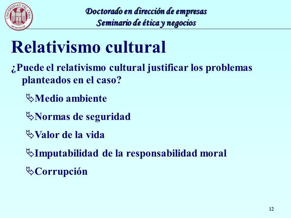 Doctorado en dirección de empresas Seminario de ética y negocios 12 Relativismo cultural ¿Puede el relativismo cultural justificar los problemas plant