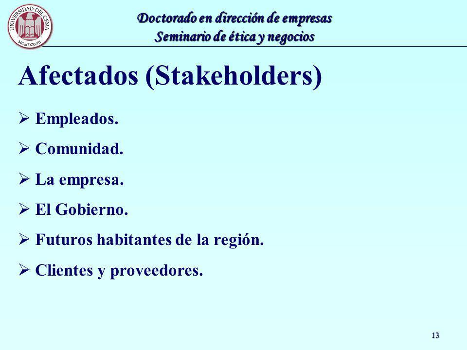 Doctorado en dirección de empresas Seminario de ética y negocios 13 Afectados (Stakeholders) Empleados. Comunidad. La empresa. El Gobierno. Futuros ha