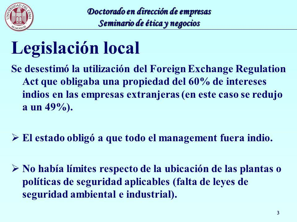 Doctorado en dirección de empresas Seminario de ética y negocios 3 Legislación local Se desestimó la utilización del Foreign Exchange Regulation Act q