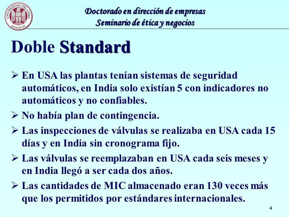 Doctorado en dirección de empresas Seminario de ética y negocios 4 Standard Doble Standard En USA las plantas tenían sistemas de seguridad automáticos